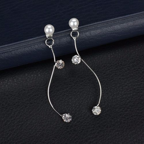 Pearl Crystal S Shaped Stud Earrings - Silver Tone
