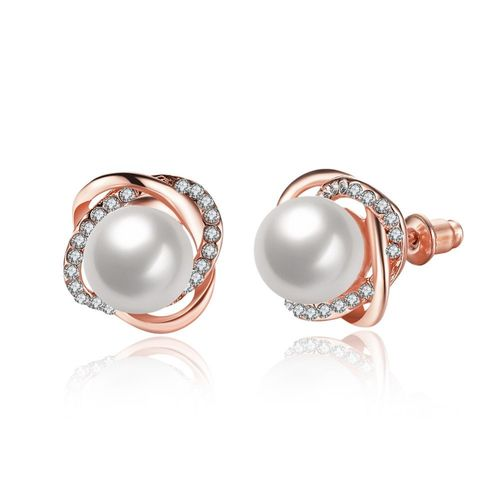 Pearl Crystal Stud Earrings - Rose Gold Tone