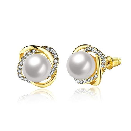 Pearl Crystal Stud Earrings - Gold Tone
