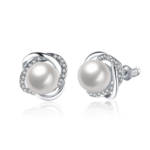 Pearl Crystal Stud Earrings - Silver Tone