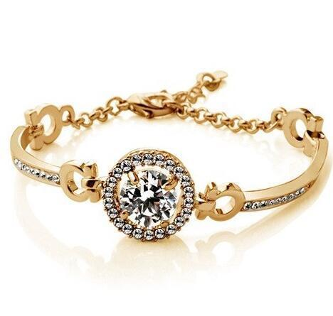 10mm Round CZ Bangle - Rose Gold Tone
