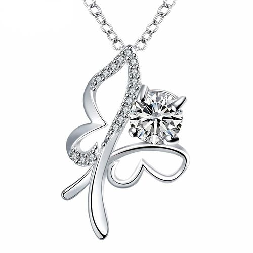 CZ Open Butterfly Pendant Necklace - Silver Tone