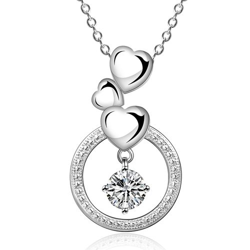 Hearts Crystal Pendant Necklace - (S925) Silver