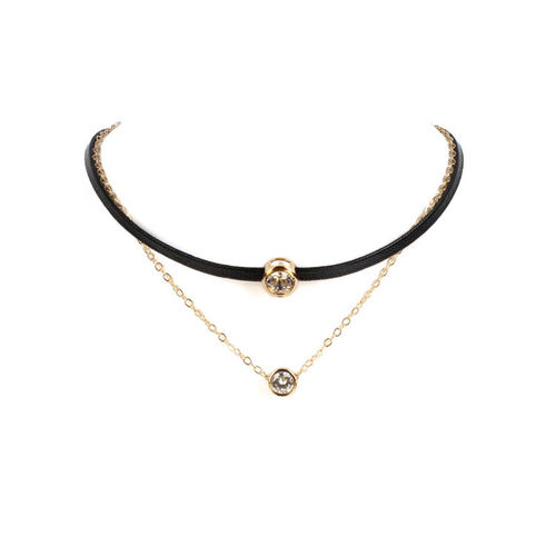 Handmade Double Layer Choker Necklace - Black