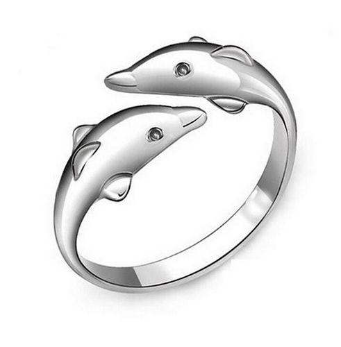 Double Dolphins Adjustable Ring - Silver Tone