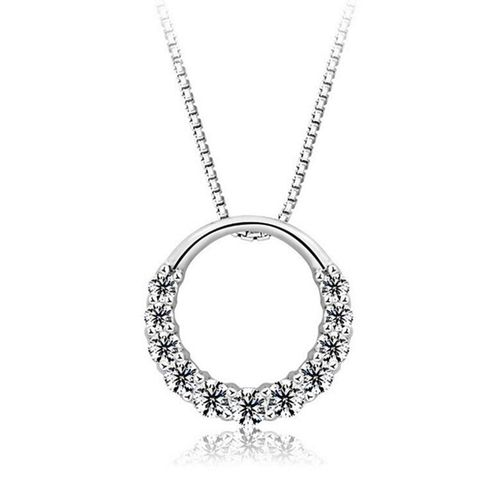 Circle w/Crystal Pendant Necklace - (S925) Silver Plated