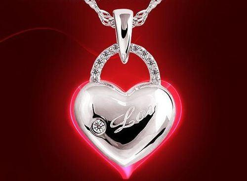 Love Locker w/Crystal Pendant Necklace - (S925) Silver Plated